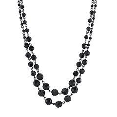 1928 Jewelry Black 2 Row Beaded Necklace