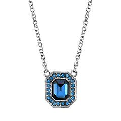 1928 Jewelry Silver Tone Dark and Light Blue Crystal Octagon Pendant Necklace