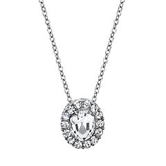 1928 Jewelry Silver Tone Crystal Oval Pendant Necklace