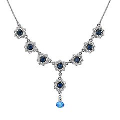1928 Jewelry Silver Tone Dark and Light Blue Crystal Flower Y-Necklace