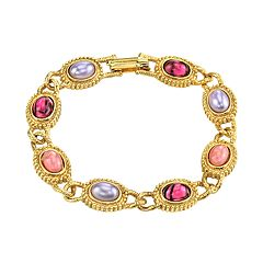 1928 Jewelry Gold Tone Light & Dark Amethyst Color Link Bracelet