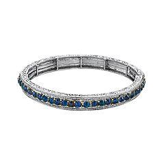 1928 Jewelry Silver Tone Sapphire Blue Color Crystal Stretch Bracelet