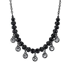 1928 Jewelry Black Tone Black Bead Crystal Drops Necklace