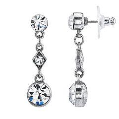 1928 Jewelry Silver Tone Crystal Linear Drop Earring