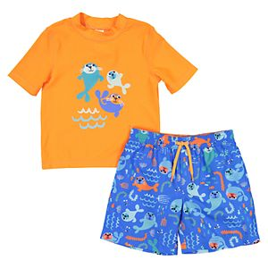 92f34ee8c1 Disney's Mickey Mouse Baby Boy Sunglasses Mickey Raglan Rash Guard Top &  Striped Swim Trunks. Sale
