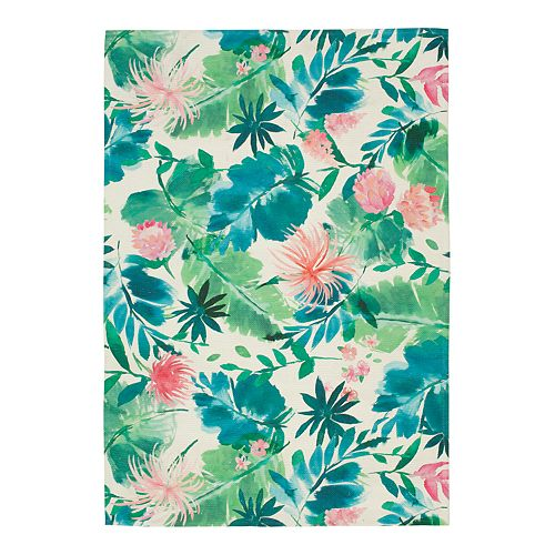 Sonoma Goods For Life Printed Palm Floral Indoor Outdoor Rug