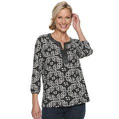 Women's Croft & Barrow® Embellished Splitneck Top