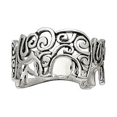 Primrose Sterling Silver Elephant Band Ring