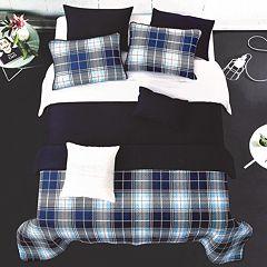 Blue Plaid Solid Comforter & Coverlet Set