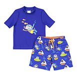 Toddler Boy Kiko & Max Monkey Snorkeling Rash Guard Top & Swim Trunks Set