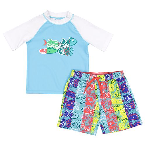 Toddler Boy Kiko & Max Fish Raglan Rash Guard Top & Swim Trunks Set