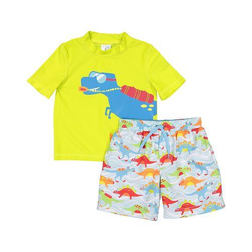 Toddler Boy Kiko & Max Dinosaur Rash Guard Top & Swim Trunks Set