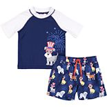 Toddler Boy Kiko & Max Americana Dog Top Hat Raglan Rash Guard Top & Swim Trunks Set