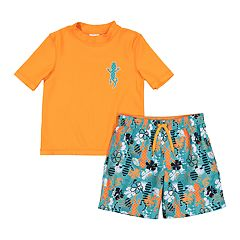 8275f8880c76c Toddler Boy Kiko & Max Gecko Rash Guard Top & Tropical Swim Trunks Set