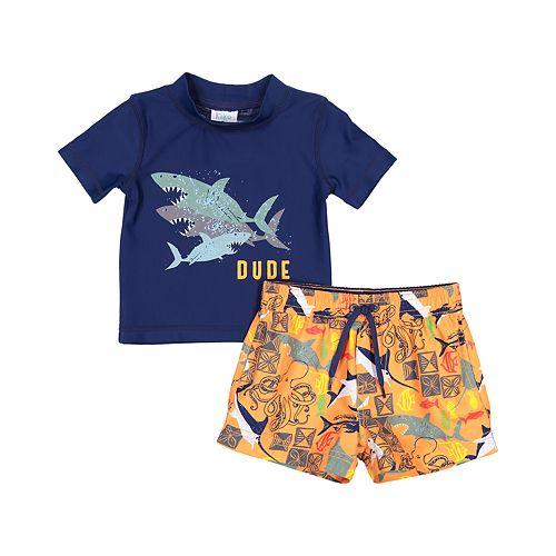 "Toddler Boy Kiko & Max Sharks ""Dude"" Rash Guard Top & Swim Trunks Set"