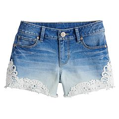3bb610de4024b Girls 7-16 & Plus Size Mudd® Crochet Jean Shorts