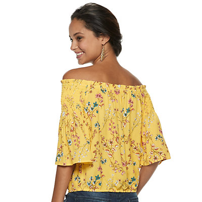 Juniors' SO® Smocked Off-the-Shoulder Top