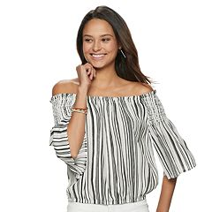 9a71b6113064a Juniors  SO® Smocked Off-the-Shoulder Top