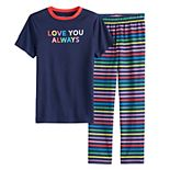 "Boys' 4-20 Jammies For Your Families ""Love You Always"" Rainbow Pride Top & Bottoms Pajama Set"