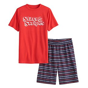 "Boys 8-20 Jammies For Your Families ""Stars & Stripes"" Top & Striped Shorts Pajama Set"