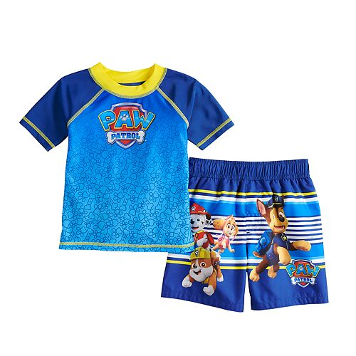 Toddler Boy Paw Patrol Raglan Rash Guard & Swim Trunks Set