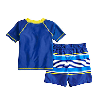 Toddler Boy Paw Patrol Raglan Rash Guard & Swim Trunks Set