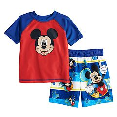 Disney's Mickey Mouse Toddler Boy Raglan Rash Guard & Swim Trunks Set