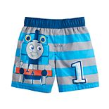 Toddler Boy Thomas The Train Striped Swim Trunks