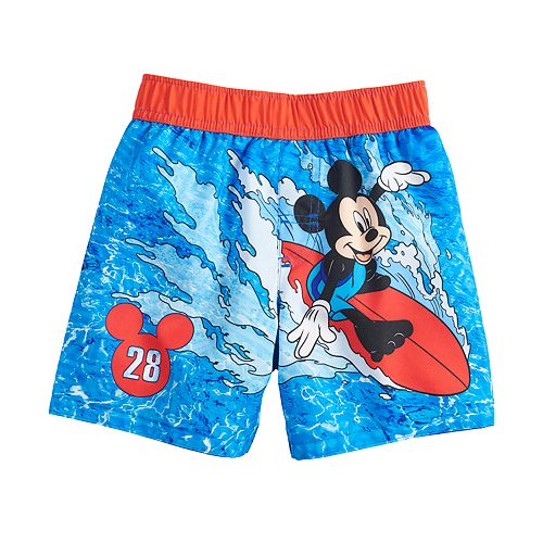 Disney Toddler /& Boys Blue Stripe Mickey Mouse Surf Board Shorts Swim Trunks