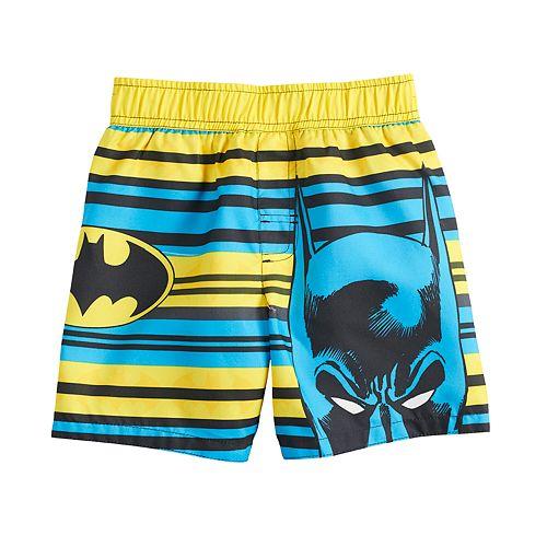 8b4ee6d1e1 Toddler Boy DC Comics Batman Striped Swim Shorts