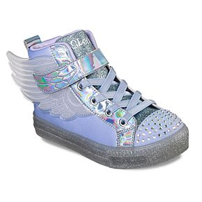 Skechers Twinkle Toes Shuffle Brights Sparkle Wings Girls' Light Up High Top Shoes