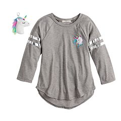 Girls 7-16 Self Esteem Graphic Raglan Tee & Keychain