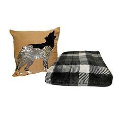 Holly Decor Coyote Throw Pillow & Throw Gift Set