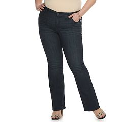 Plus Size EVRI All About Comfort Midrise Bootcut Straight Fit Less Curvy Jeans