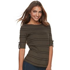 Petite Apt. 9® Textured Ruched Boatneck Sweater