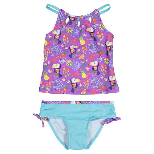 Baby Girl Kiko & Max Purple Toucan Tankini & Bottoms Swimsuit Set