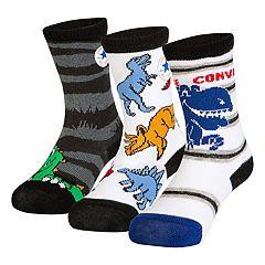 Baby Boy Converse 3-pack Dinosaur Crew Socks