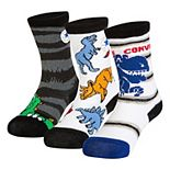 Toddler Boy Converse 3-pack Dinosaur Crew Socks