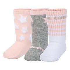 bf154fd3d38c Baby Girl Converse 3-pack Star Crew Socks