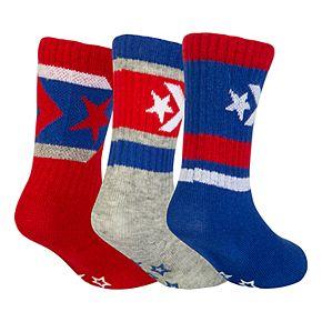 Baby Boy Converse 3-pack Chevron Crew Socks