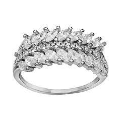 PRIMROSE Sterling Silver Marquis Leaf Cubic Zirconia Ring
