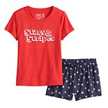 "Girls 4-16 Jammies For Your Families ""Stars & Stripes"" Top & Shorts Pajama Set"