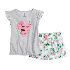 Girls 4-16 Jammies For Your Families Mommy & Me 'Love You' Top & Floral Shorts Pajama Set by Cuddl Duds