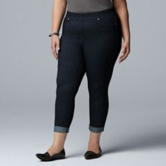 7081b00f5da Women s Plus Size Simply Vera Vera Wang Denim Cuffed Capri   Skimmer Pants
