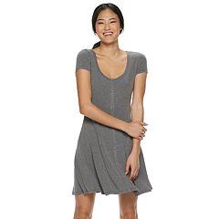 e5473cd6801 Juniors  SO® Short Sleeve Button Front Dress
