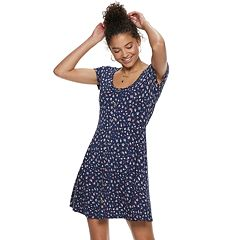 65f95dfa54d Juniors  SO® Short Sleeve Button Front Dress. Gray Heather Navy Floral Black  ...