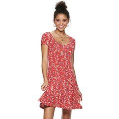 Juniors' SO® Short Sleeve Button Front Dress