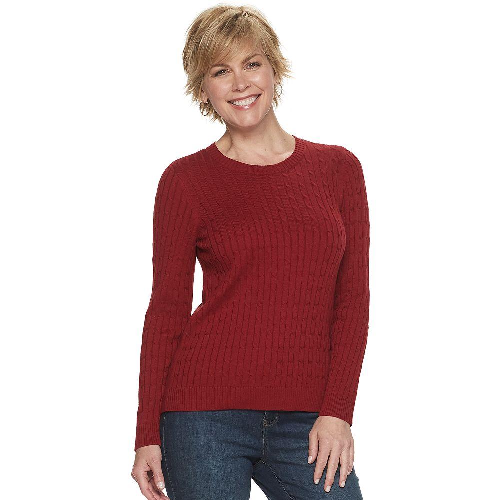 Petite Croft & Barrow® Essential Cable-Knit Crewneck Sweater