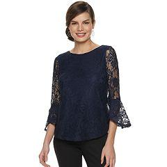 Women's ELLE™ 3/4 Lace Bell Sleeve Top
