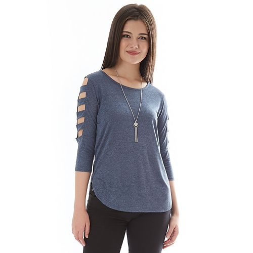 Juniors' IZ Byer Ladder Lattice Sleeve Top